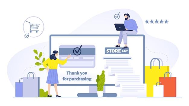 Leute, die online-konzeptillustration kaufen. frau, die einkäufe mit dem computer tätigt und die kreditkartenüberprüfung auf dem bildschirm hat. empfangen von einkaufstüten mit bestellungen. mann mit laptop