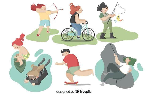 Leute, die outdoor-aktivitäten machen