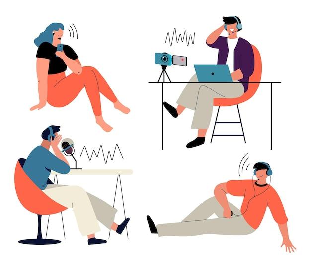 Leute, die podcast aufnehmen
