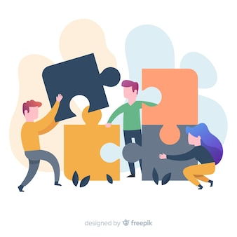 Leute, die puzzlespielhintergrund bilden