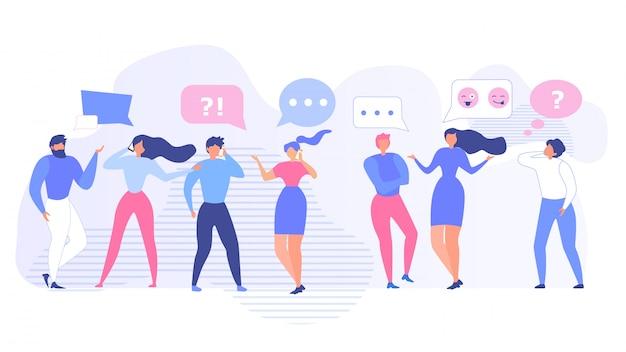 Leute, die reden und geräte benutzen