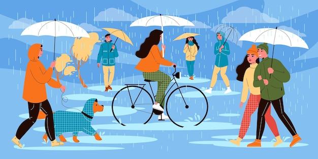 Leute, die regnerische zusammensetzung des regenschirms mit menschlichen charakteren tragen, die herbstkleidung tragen