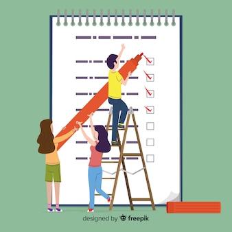 Leute, die riesigen checklistenhintergrund überprüfen