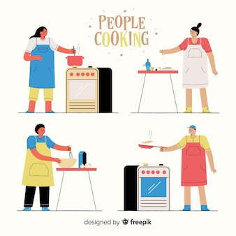 Leute, die sammlung kochen