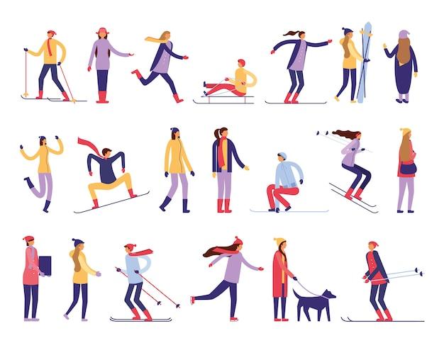 Leute, die schneeaktivitäten üben