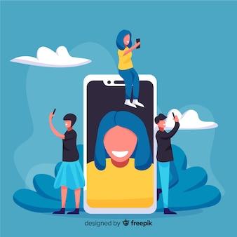 Leute, die selfies in sozialen medien teilen