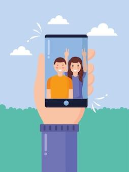 Leute, die selfies machen