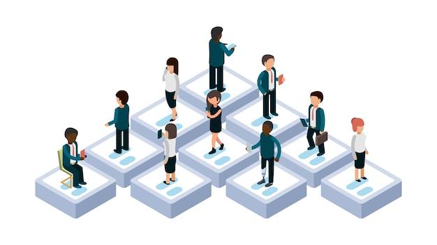 Leute, die sich unterhalten. isometrische personen mit gadget-illustration. modernes kommunikationsweb, mobiles smartphone, online-kommunikation