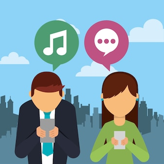 Leute, die smartphonegerät mit spracheblasen und stadthintergrund verwenden