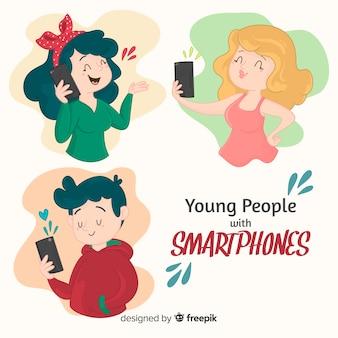 Leute, die smartphones halten