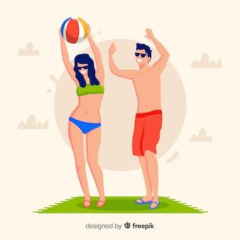 Leute, die sommer am strand genießen