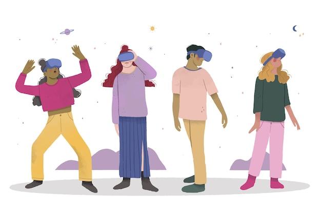 Leute, die spiele im virtual-reality-headset spielen