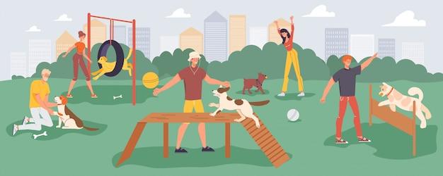 Leute, die spielendes haustier auf spaziergang am spielplatz trainieren Premium Vektoren