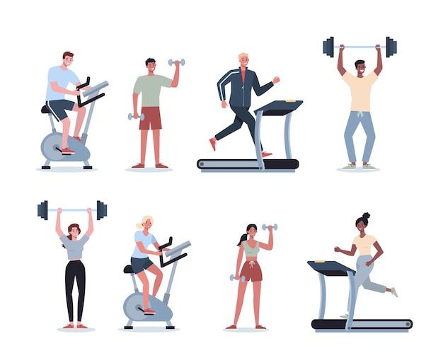 Leute, die sport treiben. sammlung verschiedener sportlicher aktivitäten. junger erwachsener, der sport treibt. frau und mann, die übung im fitnessstudio tun.