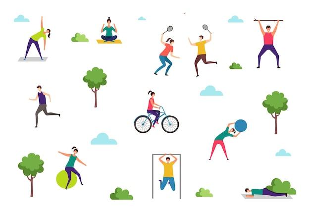 Leute, die sportübungen machen. outdoor-aktivitäten, frauen-mann-training im park. yoga-fitness-stretching-vektor-illustration. sport-fitness-training, activity-lifestyle-workout