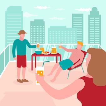 Leute, die staycation-konzept genießen