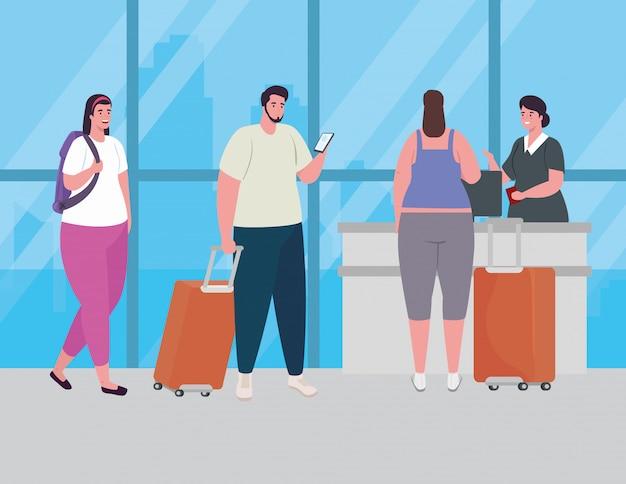 Leute, die stehen, um einzuchecken, um sich für flug, frauen und mann mit gepäck zu registrieren, die auf flugzeugabflug am flughafenvektorillustrationsdesign warten