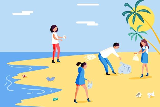 Leute, die strand putzen