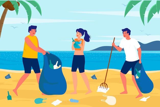 Leute, die strand säubern