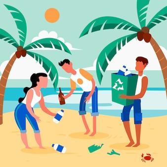 Leute, die strandkonzept reinigen