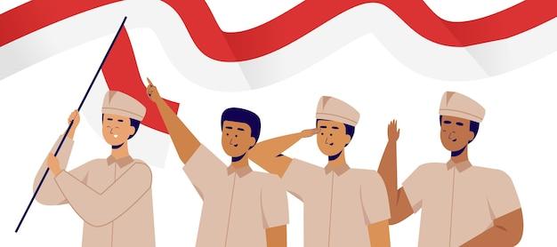 Leute, die sumpah pemuda mit kriegerausstattung feiern