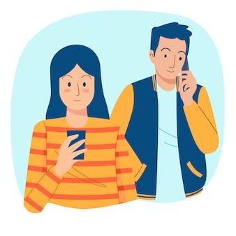 Leute, die telefonillustration benutzen