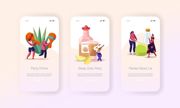 Leute, die tequila auf party mobile app page onboard screen template trinken