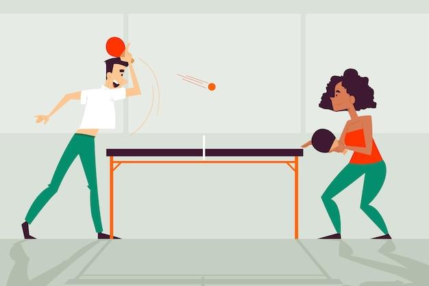 Leute, die tischtennis flaches design spielen