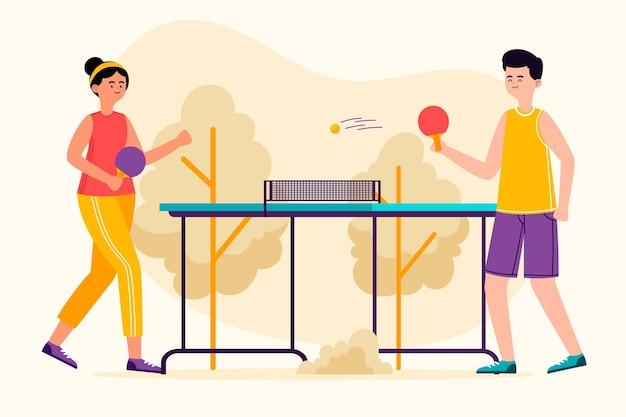 Leute, die tischtennis spielen