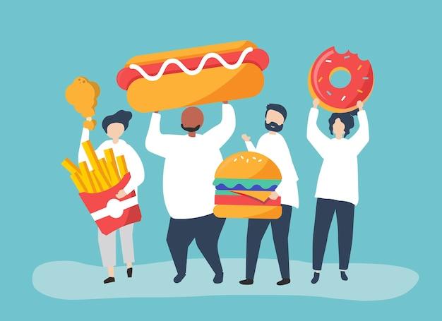 Leute, die ungesunde fertigkost essen