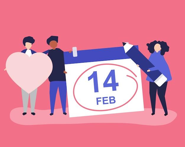 Leute, die valentinstagkonzept halten