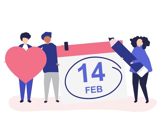 Leute, die valentinstagkonzeptikonenillustration halten