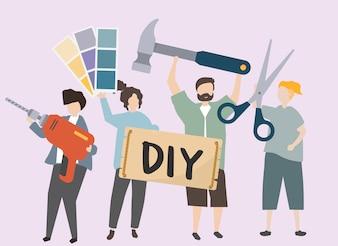 Leute, die verschiedene DIY-Werkzeugillustration tragen