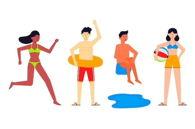 Leute, die verschiedene kostüme für den strand tragen