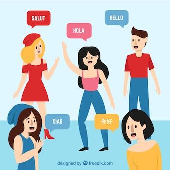 Leute, die verschiedene sprachen mit flachem design sprechen