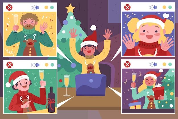Leute, die weihnachten auf einem videoanruf feiern
