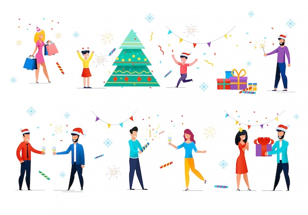 Leute, die weihnachten, neues jahr-vektor-satz feiern