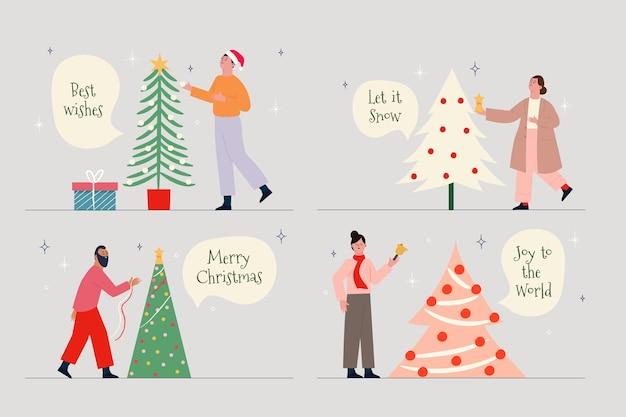 Leute, die weihnachtsbaumsammlung verzieren