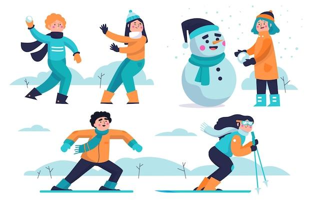 Leute, die winteraktivitäten im freien machen