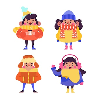 Leute, die winterkleidung tragen