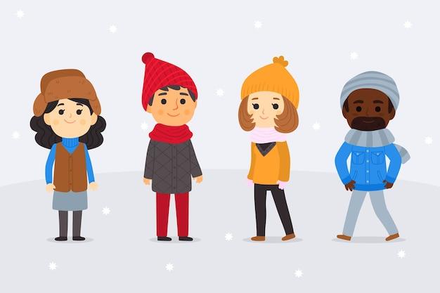 Leute, die winterkleidungssammlung tragen