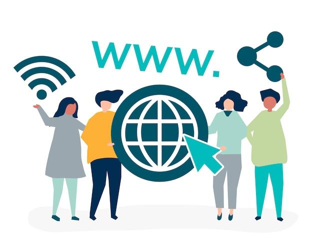 Leute, die world wide web-ikonen halten