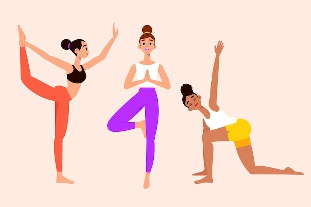 Leute, die yoga flaches design machen