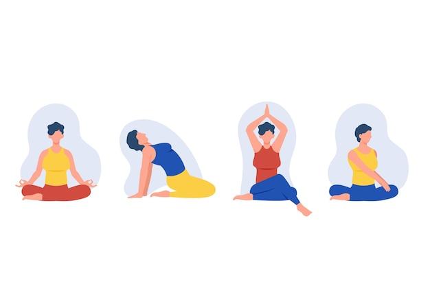 Leute, die yoga-konzept machen