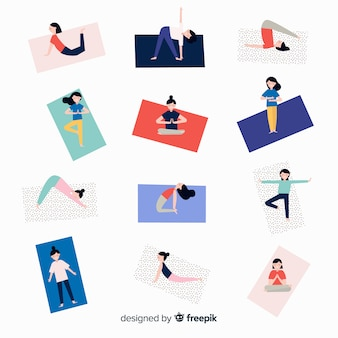 Leute, die yoga machen