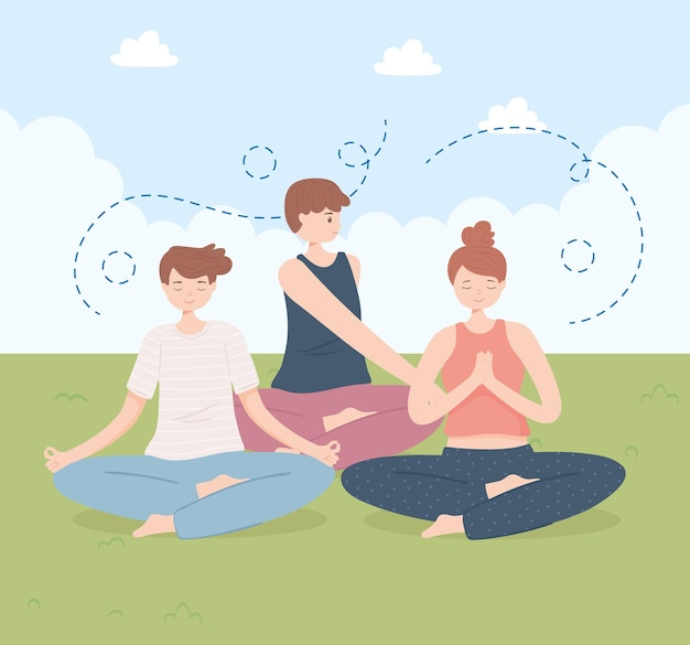 Leute, die yoga praktizieren