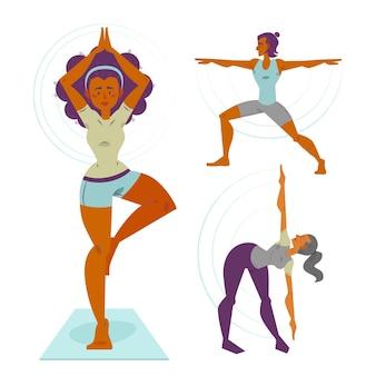 Leute, die yoga sammeln