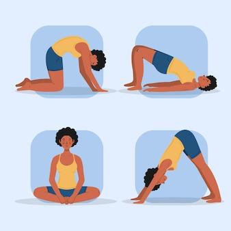 Leute, die yoga-thema machen