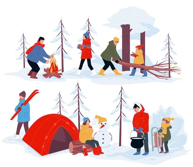 Leute, die zeit im winterlager verbringen