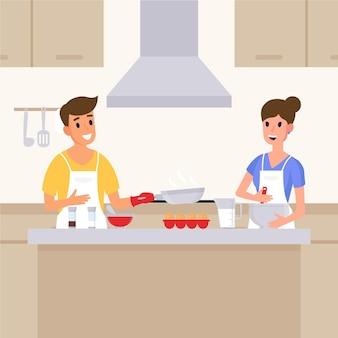 Leute, die zu hause kochen